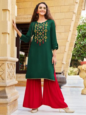 Libena Dark Green Rayon Embroidered Kurti With Stylish Sharara