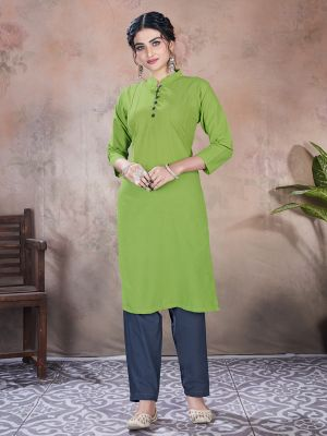 Lime Green Designer Premium Mal Cotton Kurti With Pant