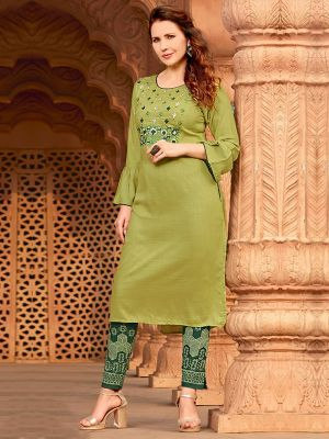 Lime Green Rayon Embroidered Kurti with Pant