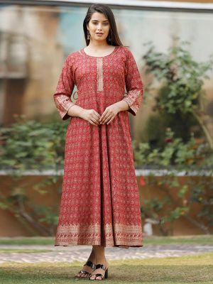 Lime Red Rayon Work & Printed Kurti