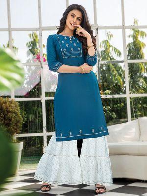 Majesty Blue  Embroidered Kurta With Stylish Sharara