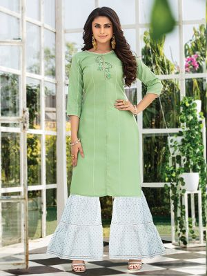 Majesty Light Green Embroidered Kurta With Fancy Sharara