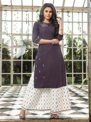 Majesty Light Purple Embroidered Kurta With Fancy Palazzo