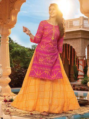 Majesty Pink Rayon Printed Kurti With Fancy Skirt