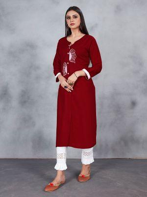 Maroon Designer Embroidery Premium Rayon Kurti
