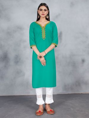 Mint Green Designer Embroidery Premium Rayon Kurti