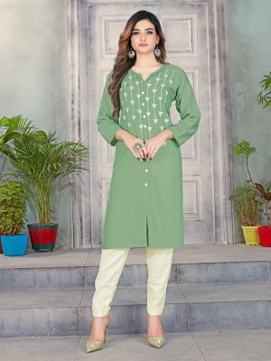 Moss Green Designer Premium Rayon Kurti With Pant
