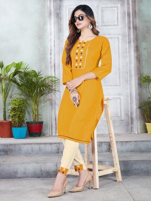 Mustard Embroidery Premium Rayon Kurti With Pant