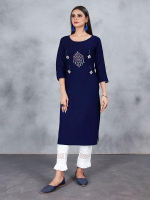 Navy Blue Designer Embroidery Premium Rayon Kurti