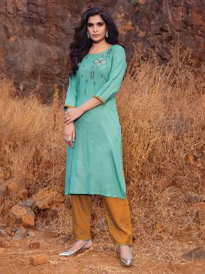 Ogaan Sky Blue Rayon Embroidered Kurti With Pant