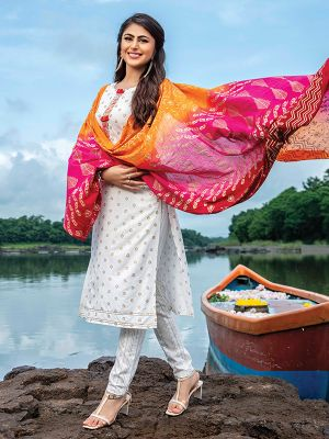 Paredise White Rayon Printed Kurti With Pant and Multicolor Dupatta