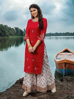 Paredise Red Embroidered kurti With Stylish Sharara