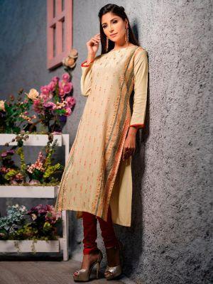 Psyna Pankhi Beige Rayon Weaving Kurti