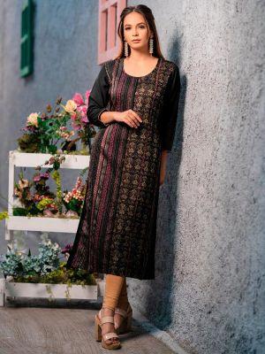 Psyna Pankhi Black Rayon Weaving Kurti