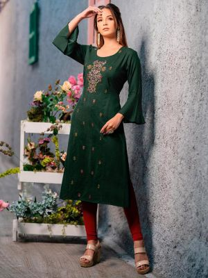 Psyna Pankhi Dark Green Rayon Weaving Kurti
