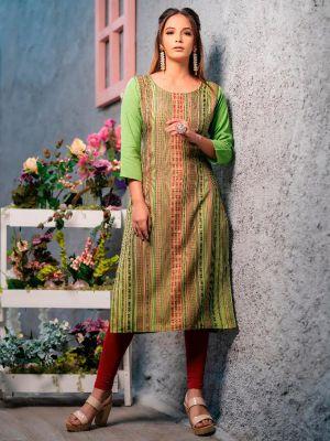 Psyna Pankhi Green Rayon Weaving Kurti