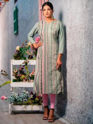 Psyna Pankhi Grey Rayon Weaving Kurti