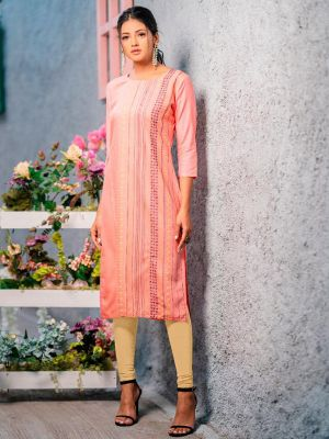 Psyna Pankhi Light Pink Rayon Weaving Kurti