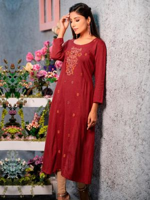 Psyna Pankhi Maroon Rayon Weaving Kurti
