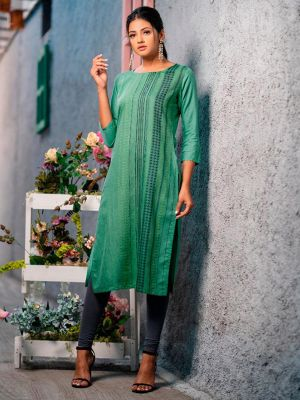 Psyna Pankhi Sea Green Rayon Weaving Kurti