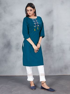 Rama Blue Designer Embroidery Premium Cotton Kurti