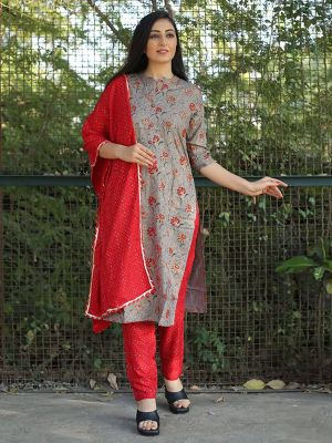 Royal Grey Rayon Printed Kurta With Dupatta & Pant
