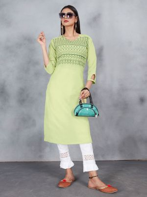 Sage Green Embroidery Work Premium Cotton Kurti