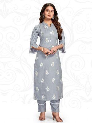 Samsara Grey Ruby Slub Printed Kurti With Stylish Pant