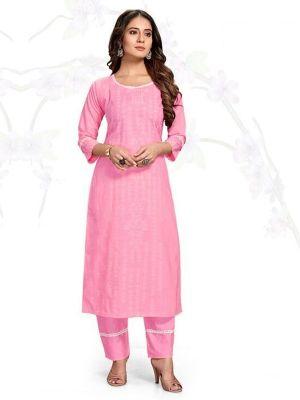 Samsara Pink Ruby Slub Printed Kurti With Stylish Pant