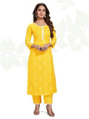 Samsara Yellow Ruby Slub Printed Kurti With Stylish Pant