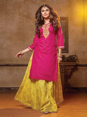 Simona Dark Pink Chanderi Embroidered Kurti With Skirt