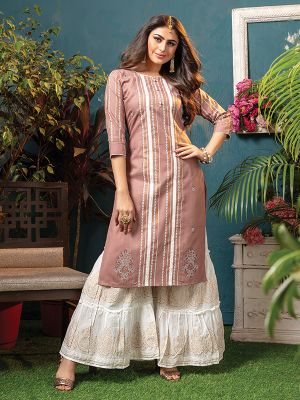 Sizzle Light Brown Rayon Embroidered Kurti With Fancy Sharara