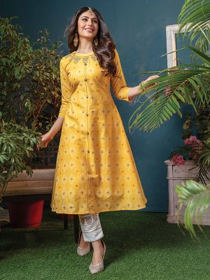 Sizzle Yellow Cotton Printed Kurti With Pant