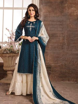 Sizzling Blue Embroidered Kurti with Dupatta and Sharara Set