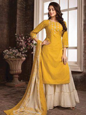 Sizzling Yellow Embroidered Kurti with Dupatta and Sharara Set