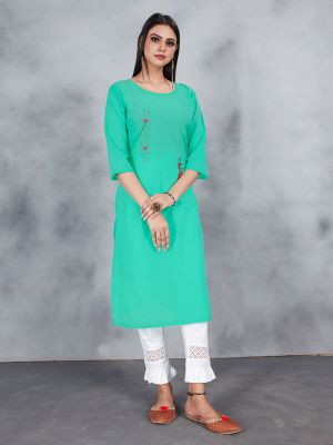 Sky Blue Designer Embroidery Premium Cotton Kurti