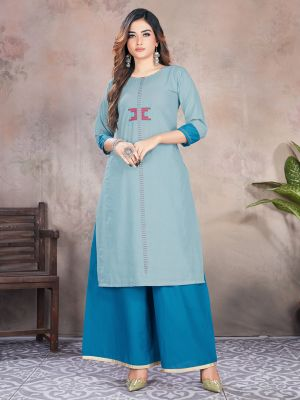 Slate Blue Designer Premium Cotton Kurti With Palazzo