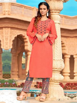 Strawberry Pink  Rayon Embroidered Kurti with Pant