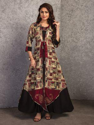 Stylish Beige and Black Rayon Printed Gown Kurti