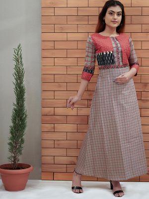 Stylish Beige Printed Cotton Kurti