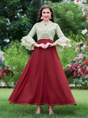 Stylish Brown and Pista Embroidered Jacket Kurti with Fancy Sleeves