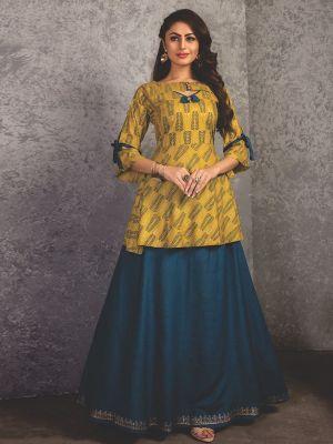 Stylish Yellow and Blue Rayon Printed Kurti