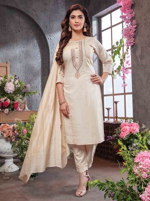 Summer Queen Beige Embroidered Cotton Stylish Kurti with Dupatta and Pant Set