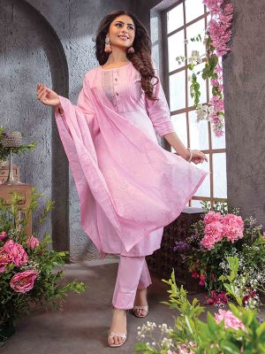 Summer Queen Baby Pink Embroidered Cotton Stylish Kurti with Dupatta and Pant Set