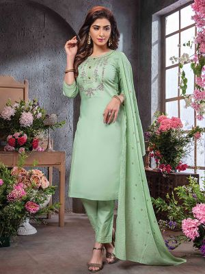 Summer Queen Pista Green Embroidered Cotton Kurti with Dupatta and Pant Set