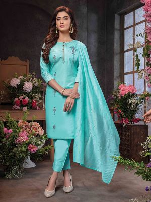 Summer Queen Sky Blue Embroidered Cotton Stylish Kurti with Dupatta and Pant Set