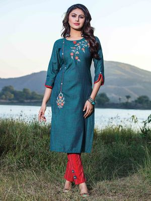 Titali Blue Embroidered Stylish Kurti with Red Fancy Cotton Pant