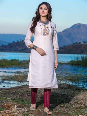 Titali Off-White Embroidered Stylish Kurti With Blue Cotton Pant