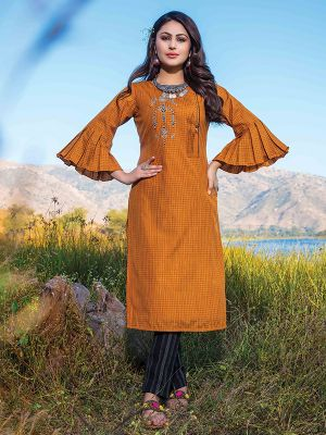 Titali Orange Embroidered Stylish Kurti with Black Cotton Pant