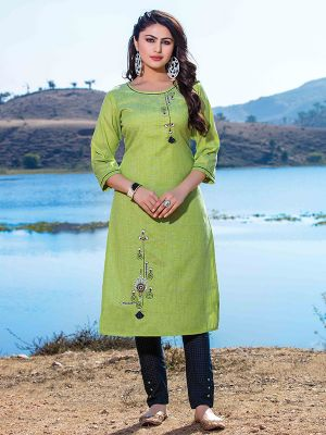 Titali Pista Green Embroidered Stylish Kurti With Blue Cotton Pant